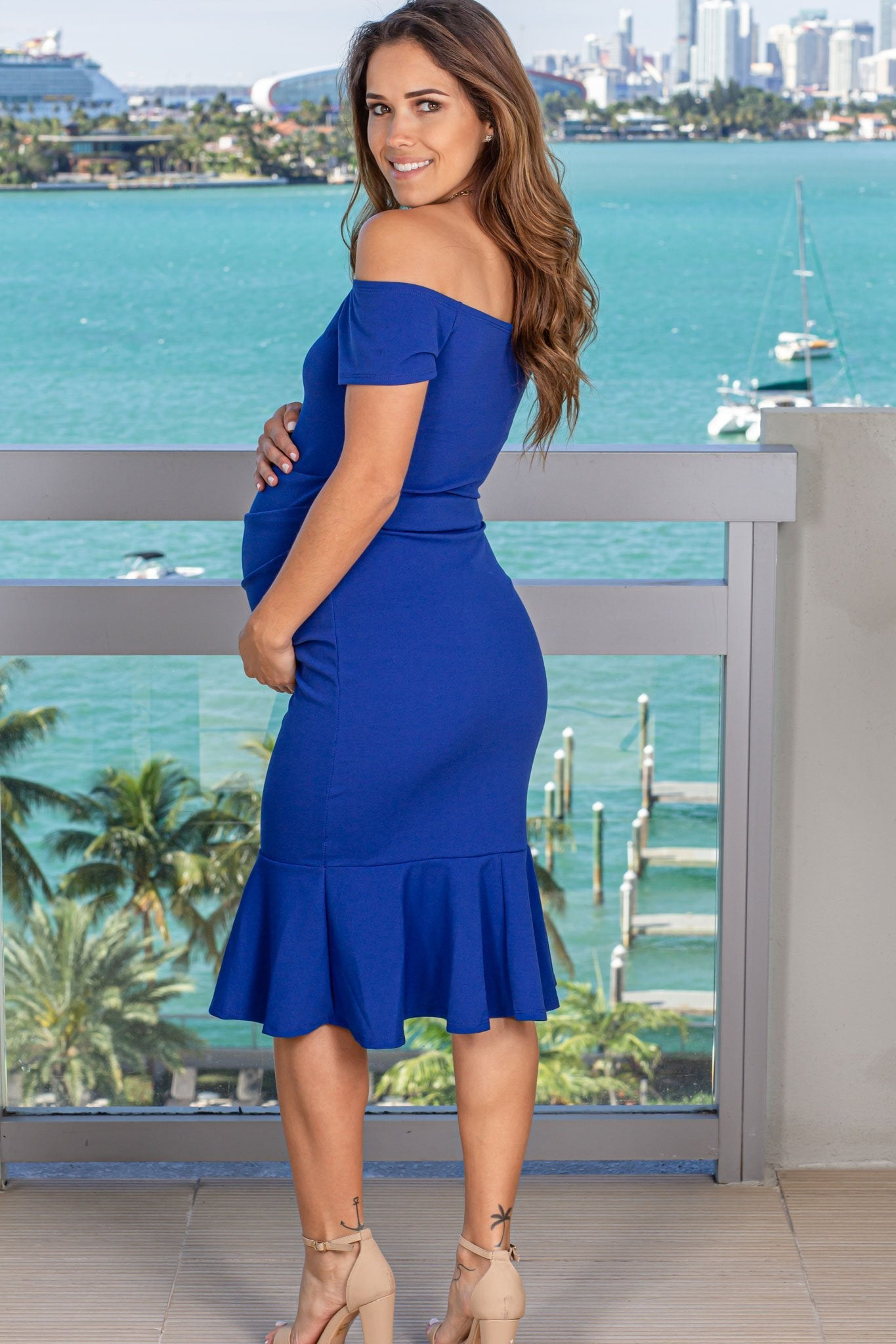 Royal Blue Off Shoulder Midi Dress