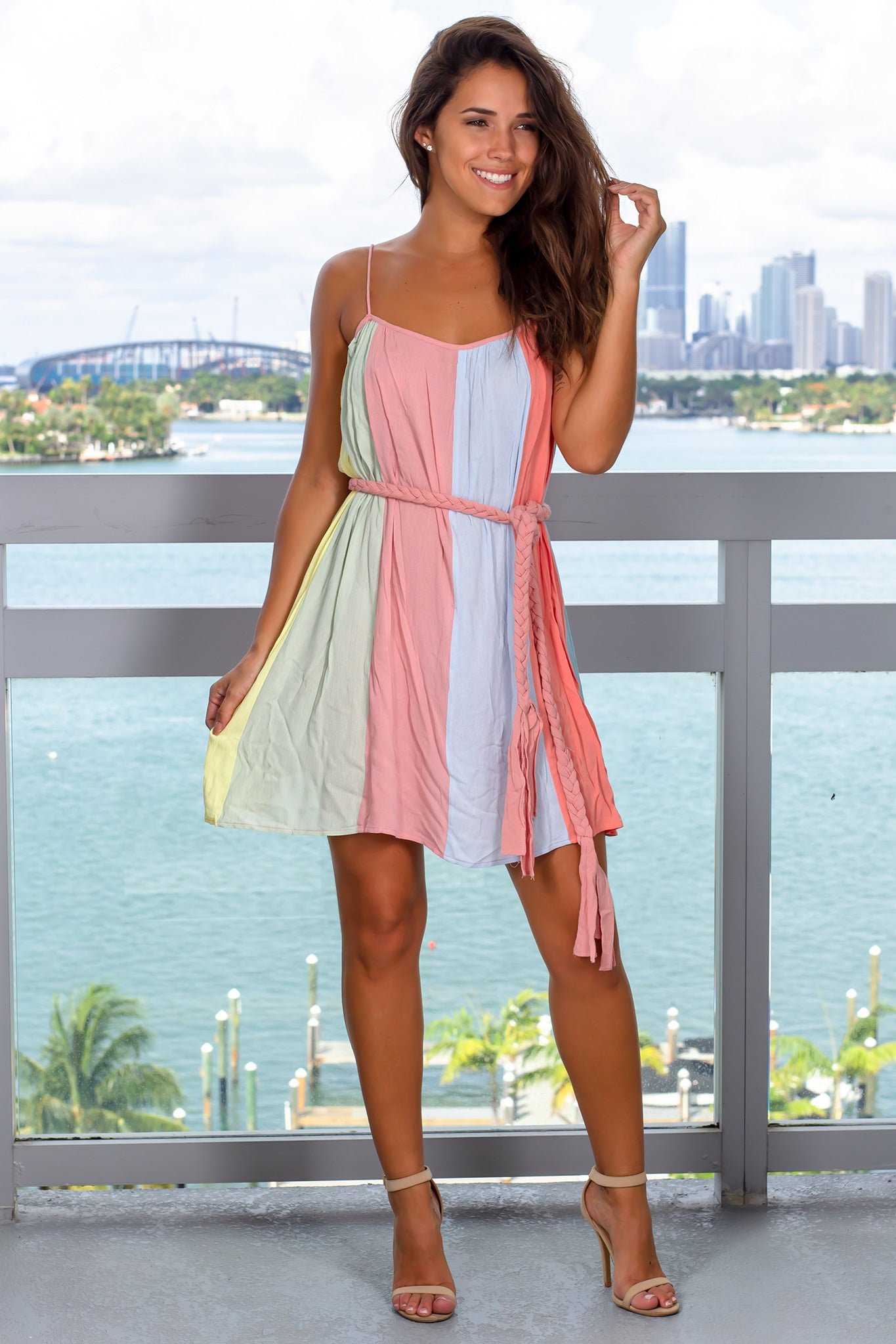 Multi Colored Short Dress with Belt