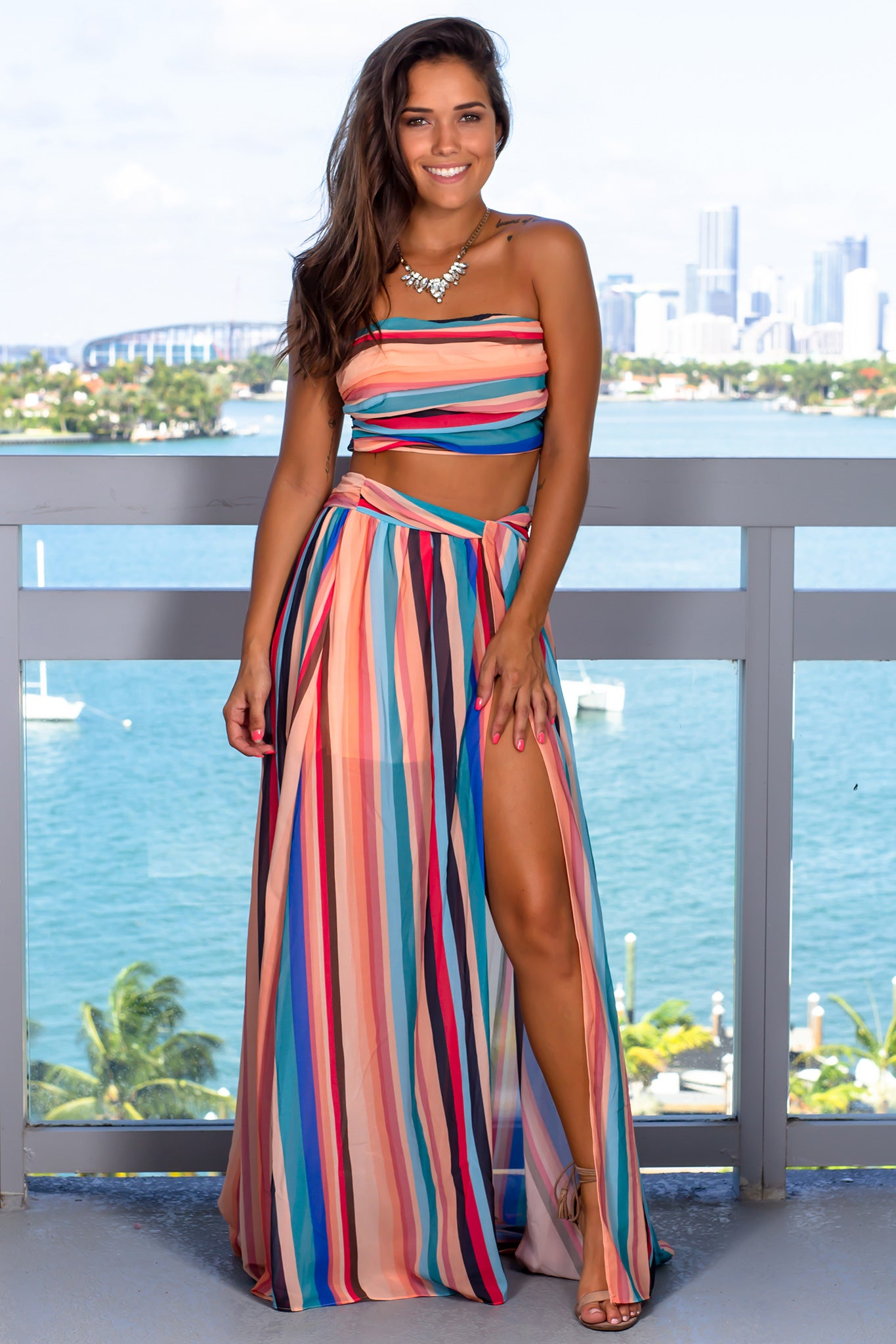 Multi Colored Striped Two Piece Set