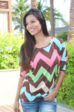Multi Color Brown Chevron Top