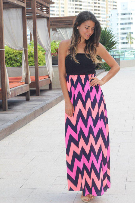 Strapless Multi Color Chevron Maxi Dress