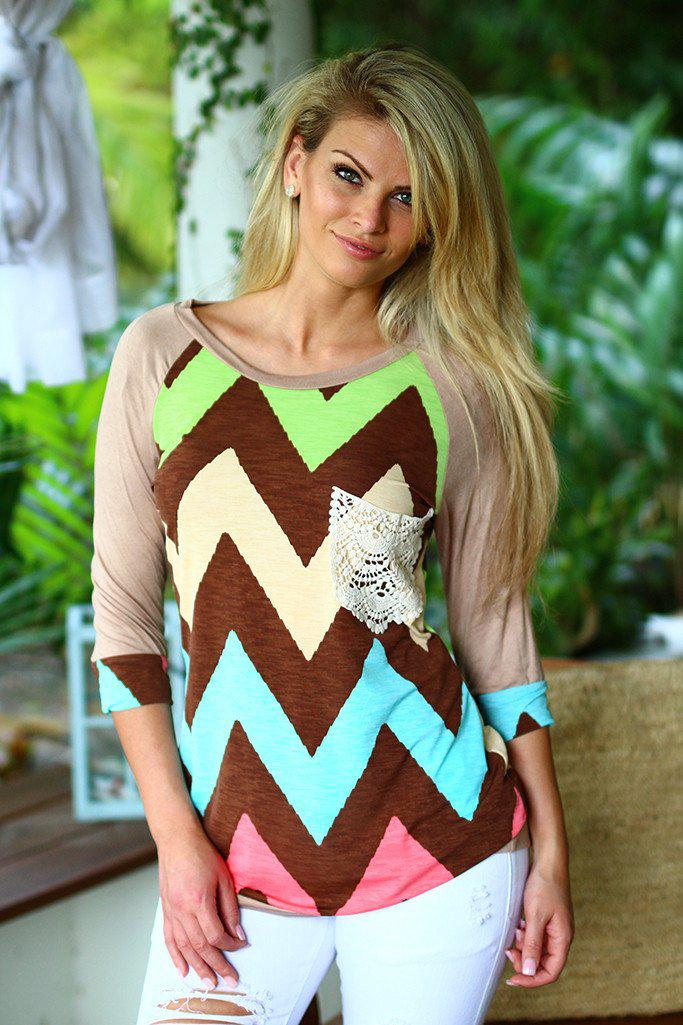 Multi Color Chevron Top With Crochet Pocket