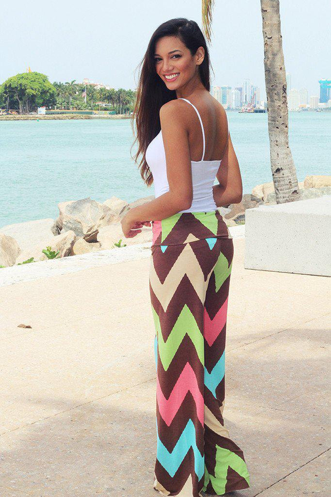Multi Color Printed Chevron Pants