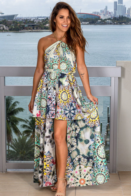 Multi Colored Halter Neck High Low Dress