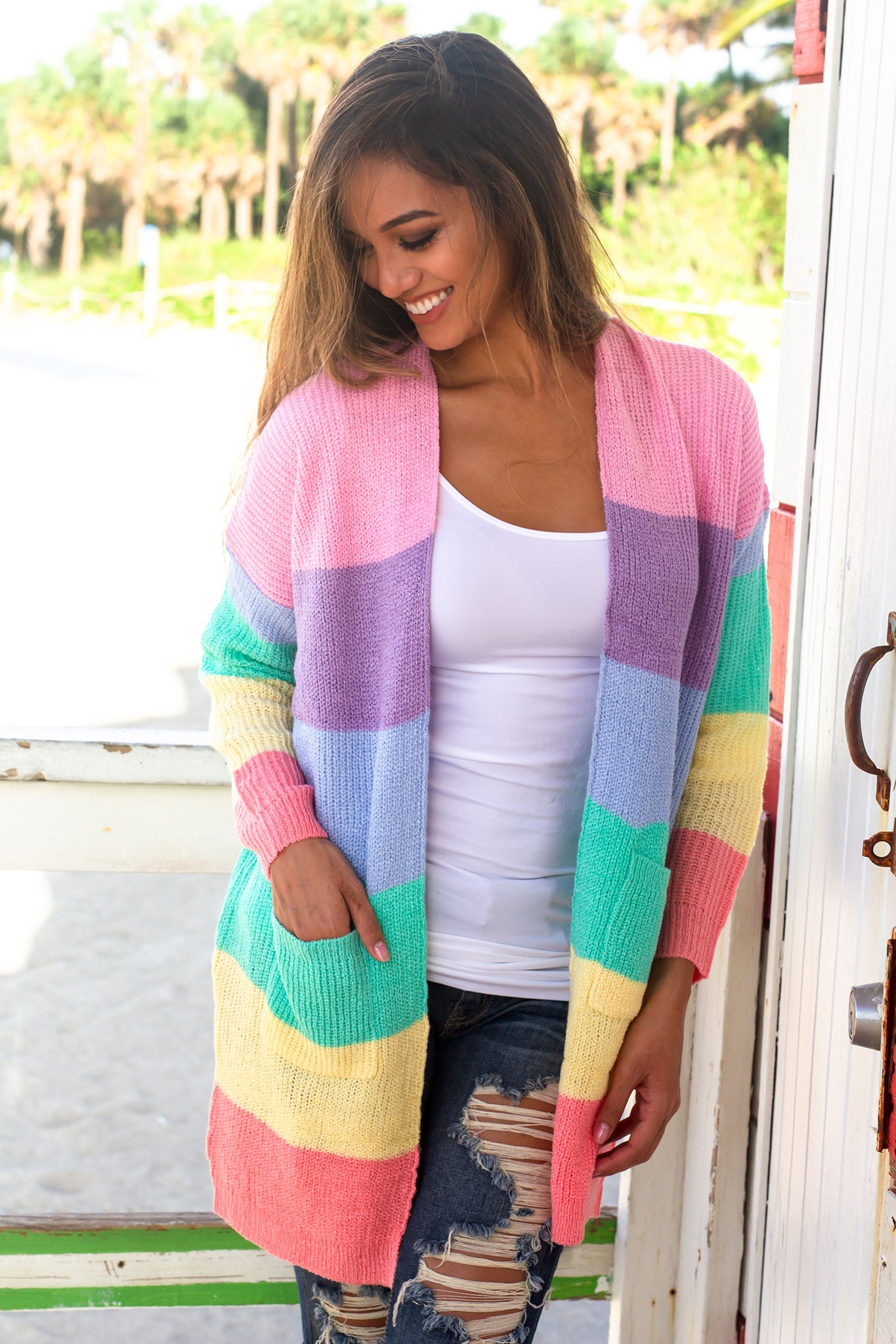 Multi Colored Open Cardigan with Pockets
