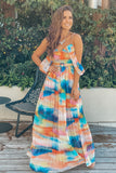 Multi Colored Pleated Maxi Dress with Belt