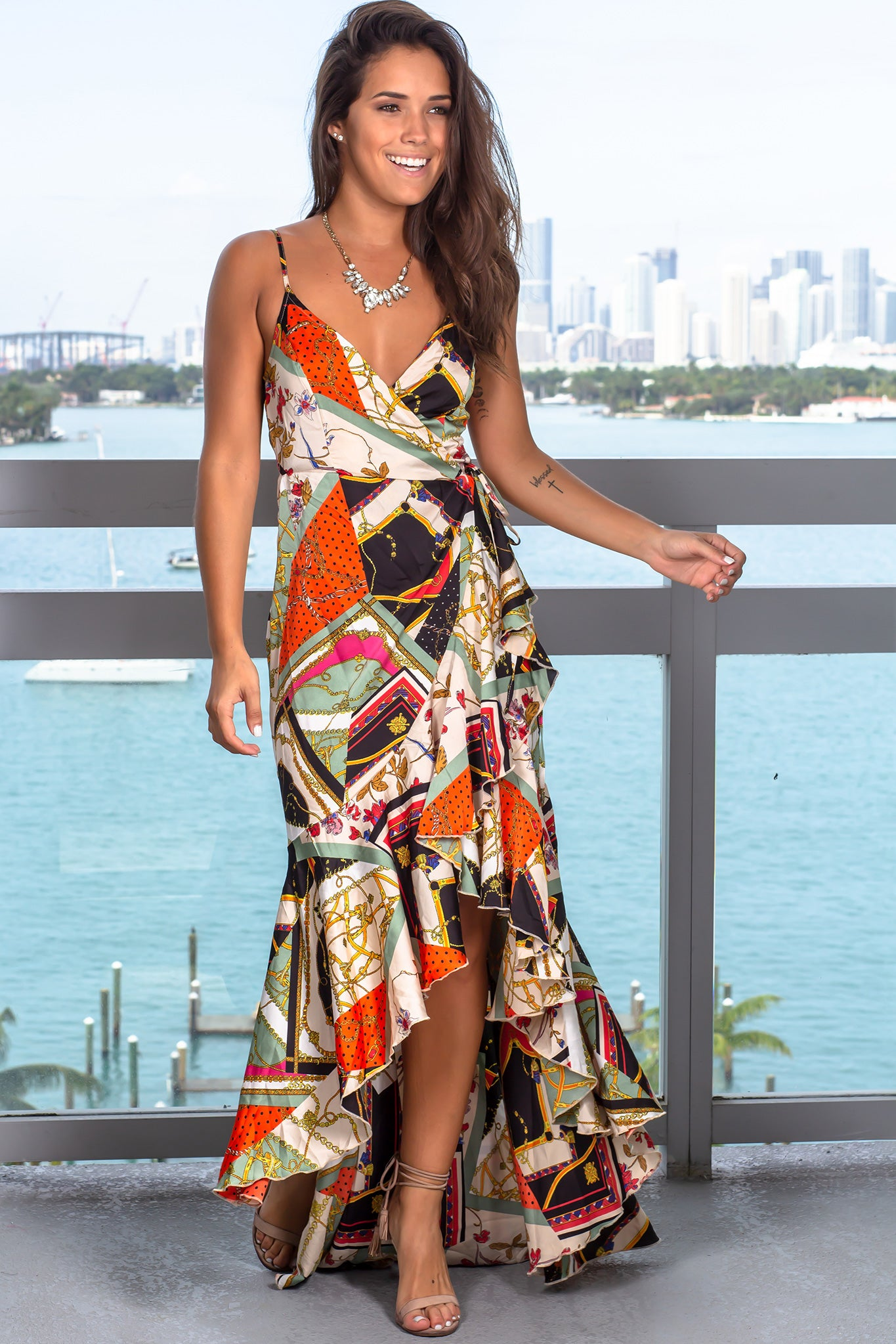 Multi Colored Printed High Low Dress
