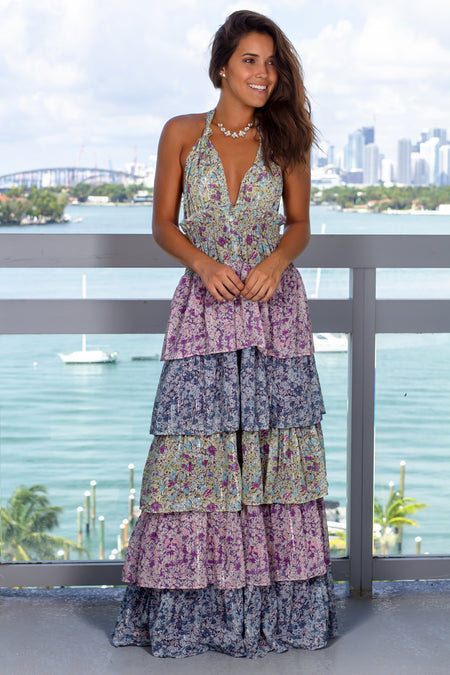 Multi Colored Ruffled Halter Neck Maxi Dress