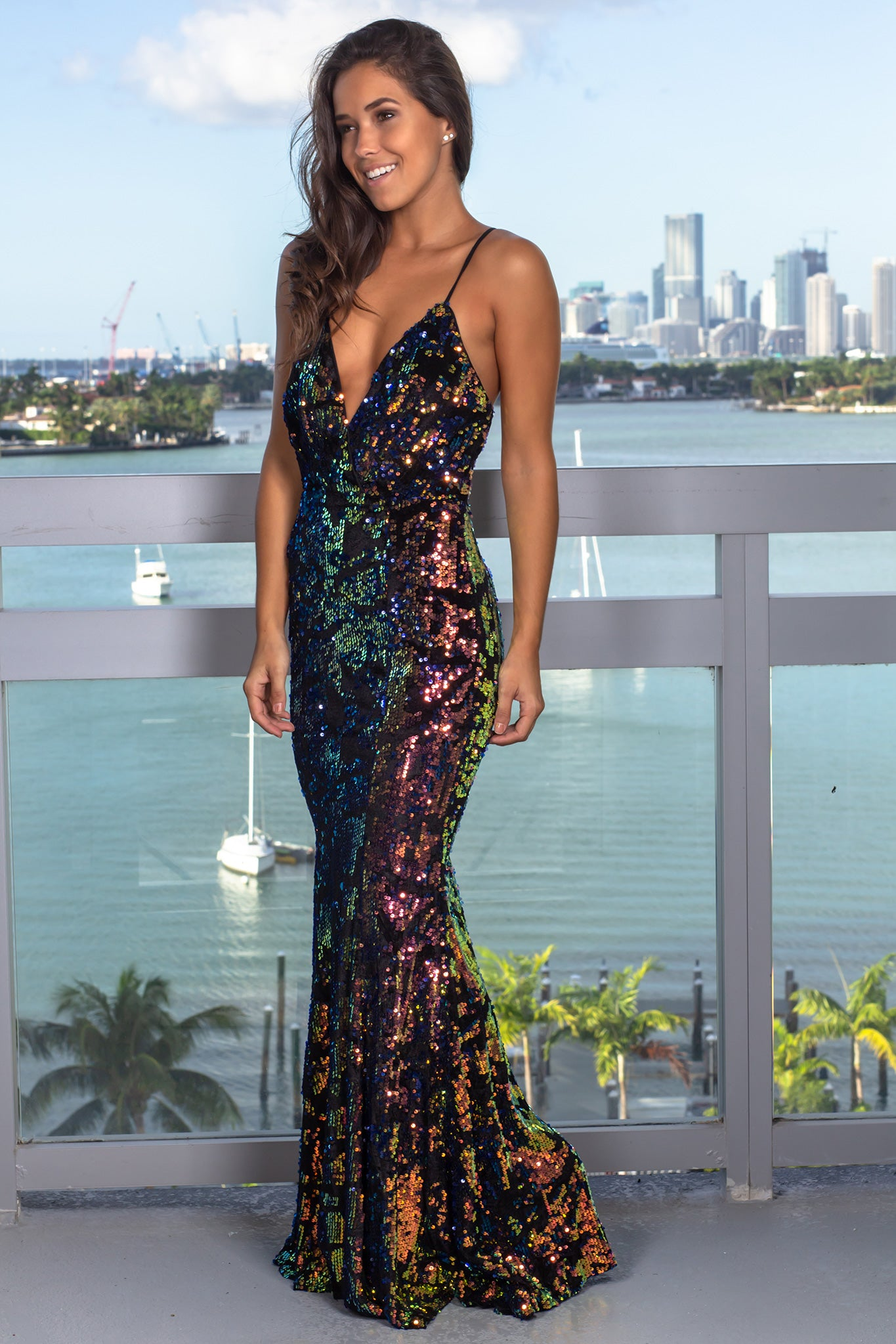 Multi Colored Sequin Maxi Dress