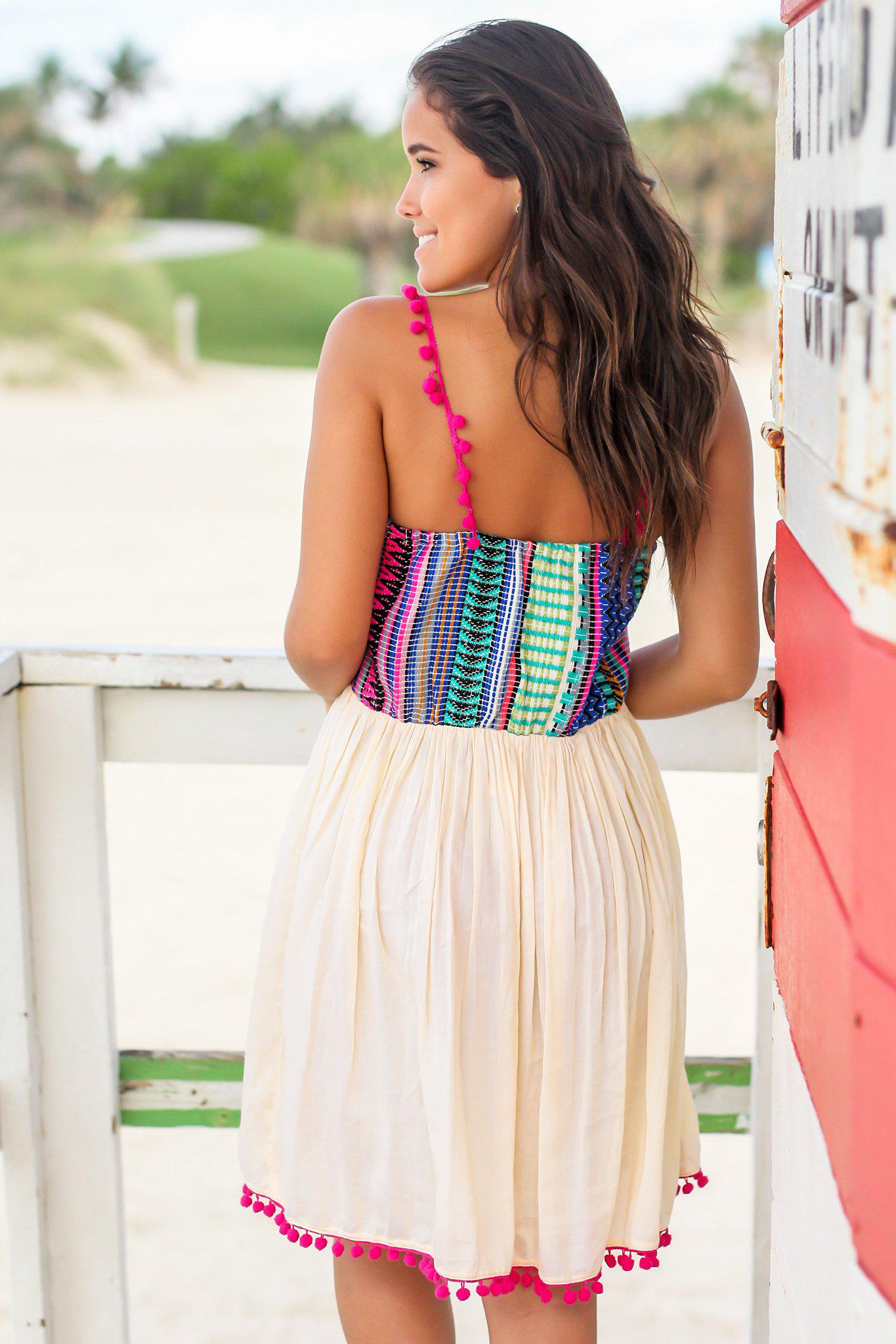 Multi Colored Short Dress with Pom Pom Details