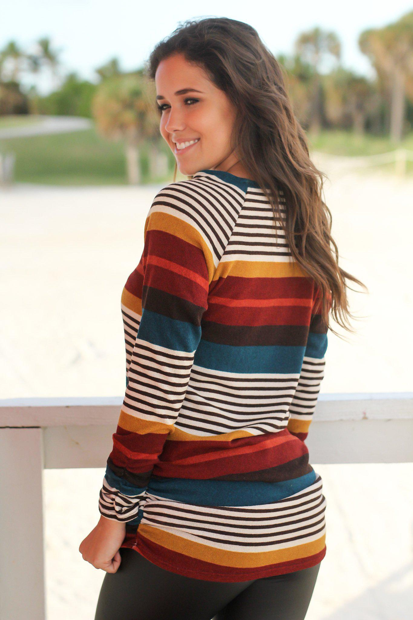 Multi Colored Striped Ruched Top