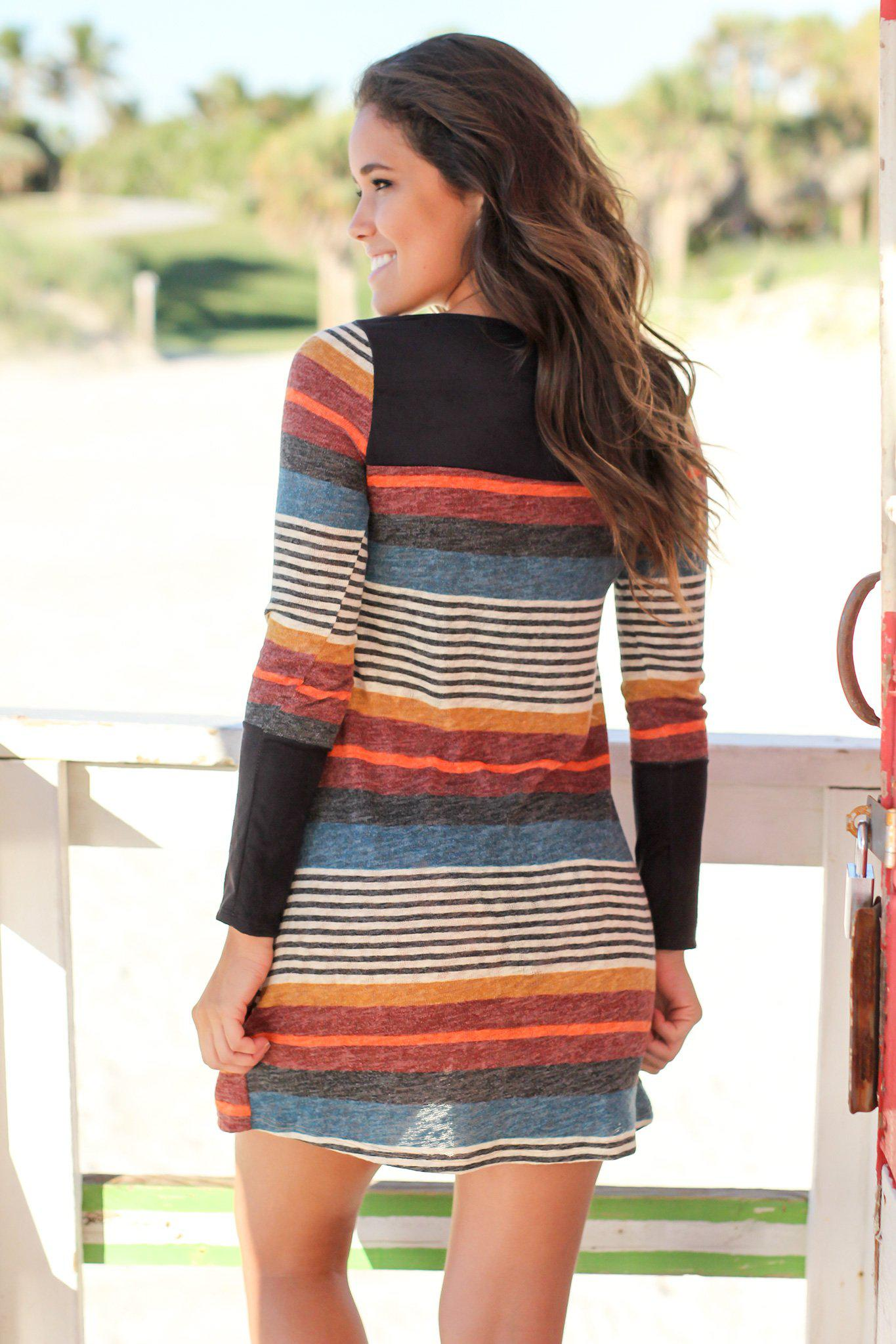 Multi Colored Striped Short Dress with Black Suede Detail