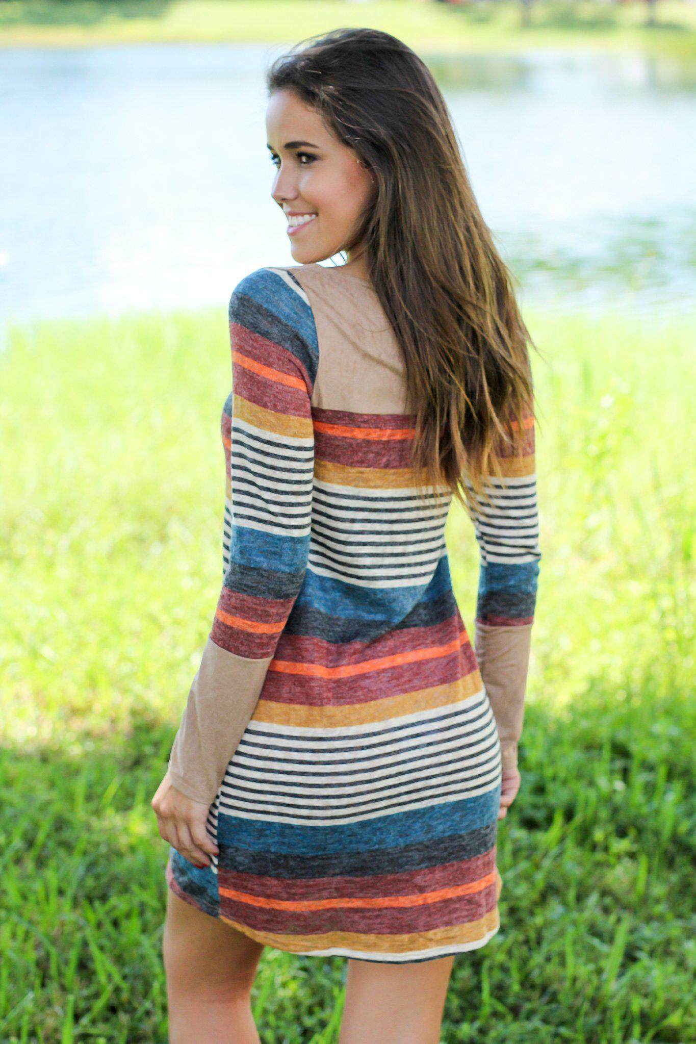 Multi Colored Striped Short Dress with Suede Detail