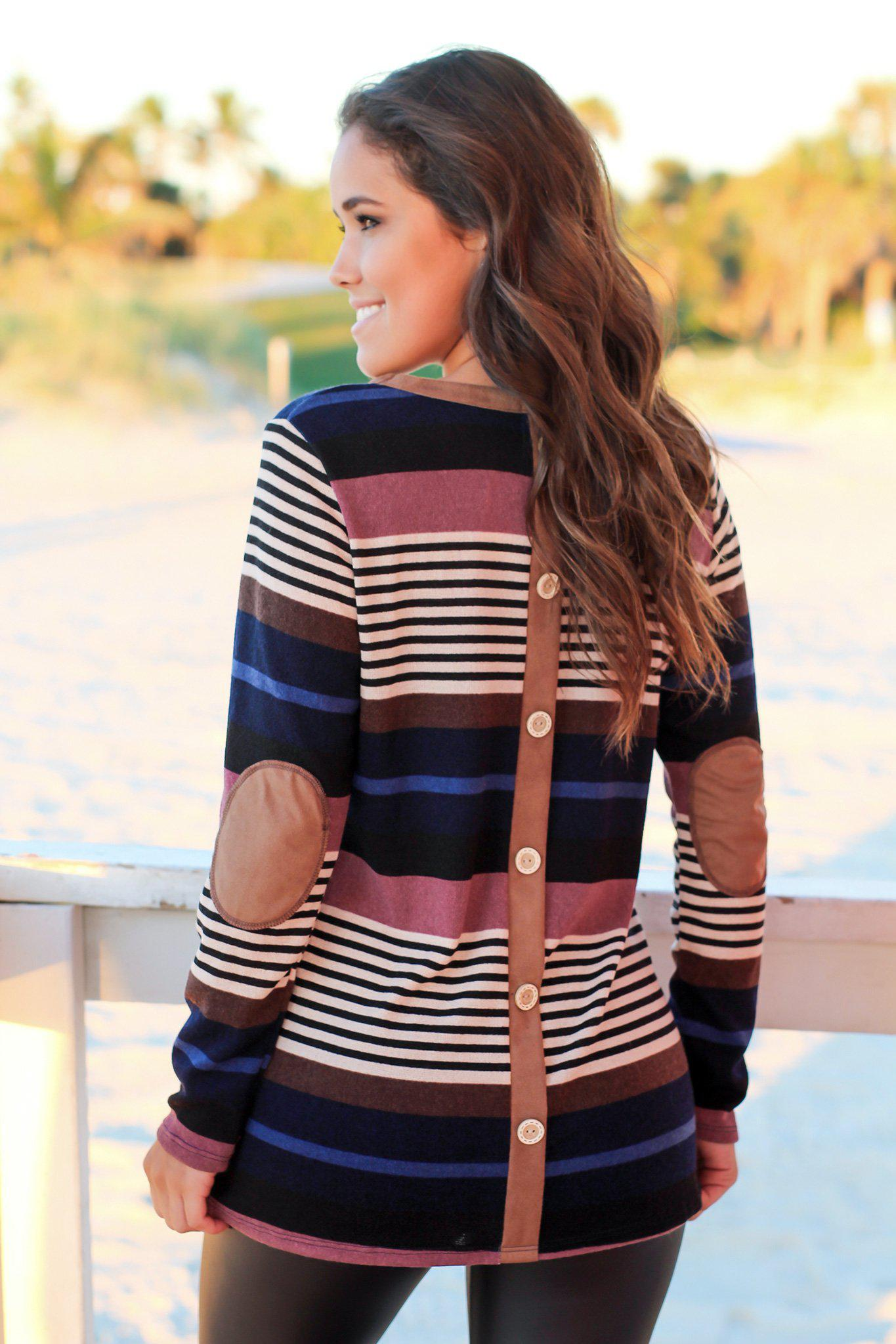 Multi Colored Striped Top with Button Detail
