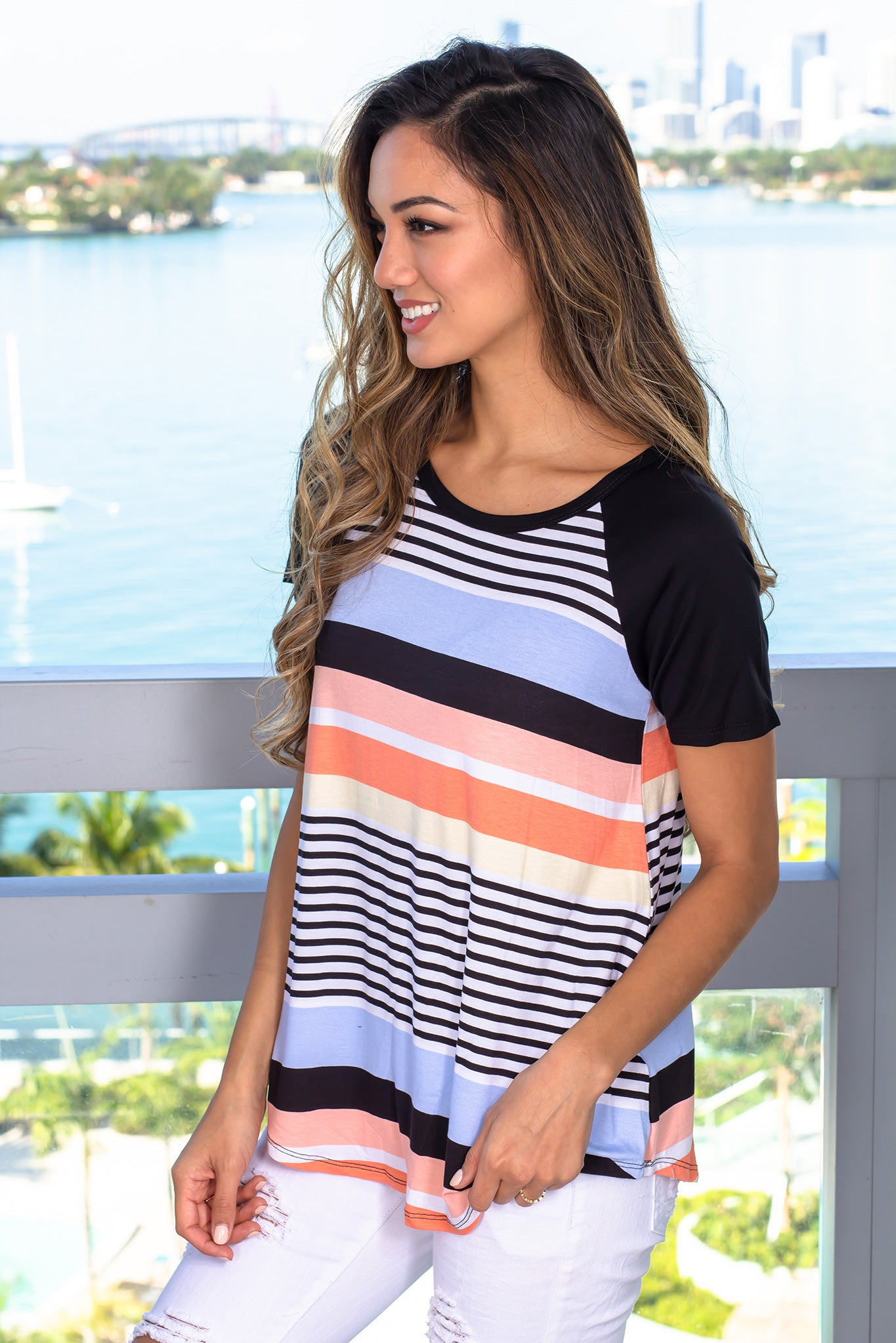 Multi Colored Striped Top with Sleeves