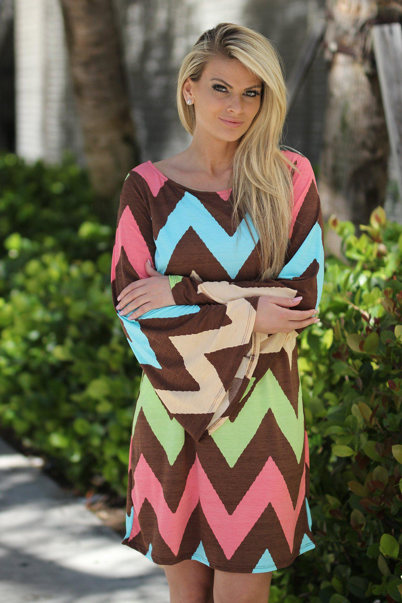 Multi Color Chevron Short Dress