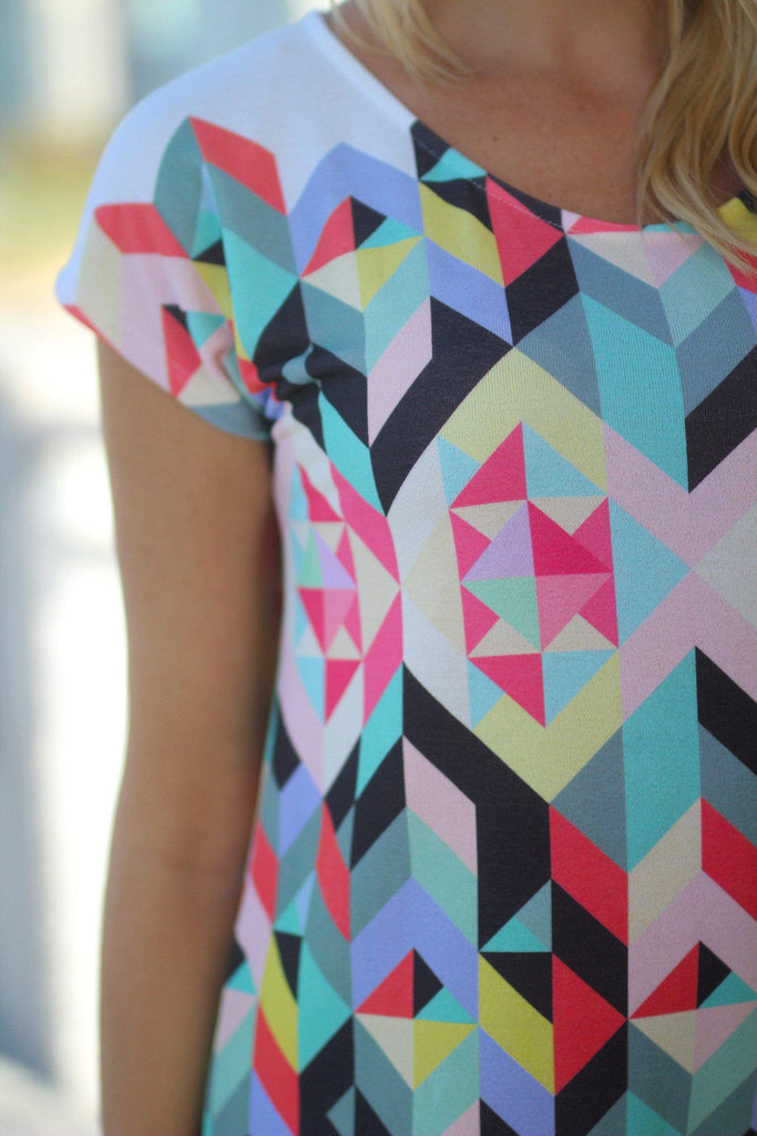geometric print short sleeve dress
