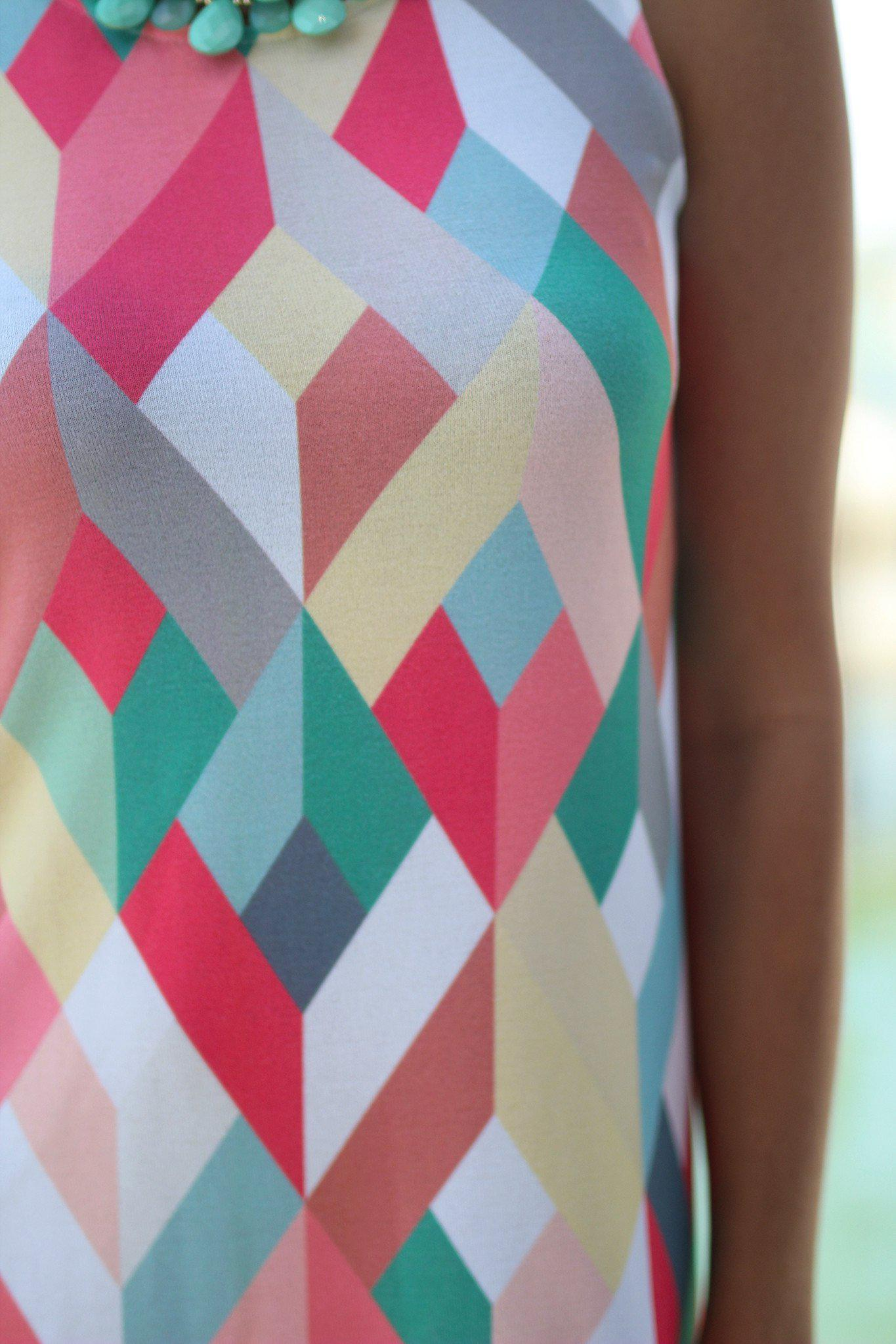 Multicolor Geometric Sleeveless Short Dress