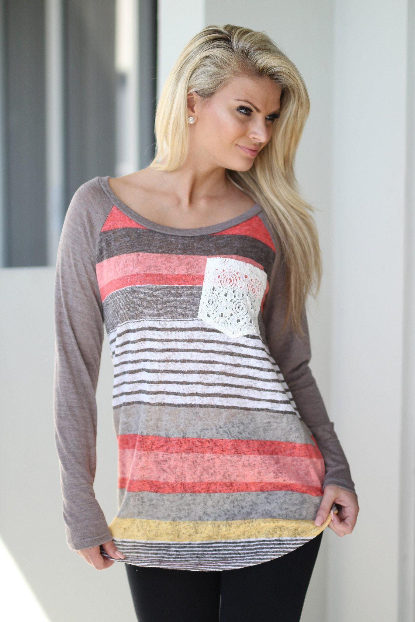 Multicolor Striped Top with Crochet Pocket