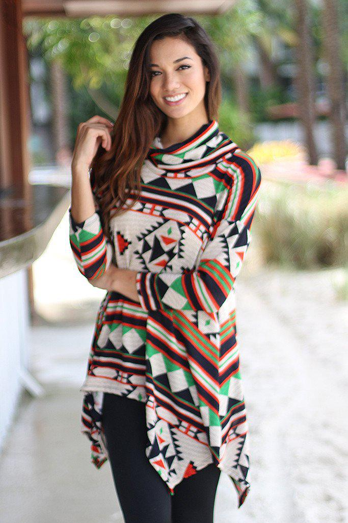 Multicolor Printed Asymmetrical Tunic