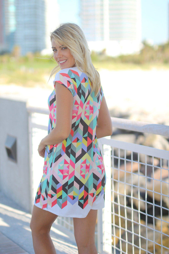 multi color printed short dress