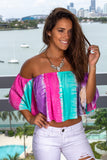 Multi Colored Striped Off Shoulder Top