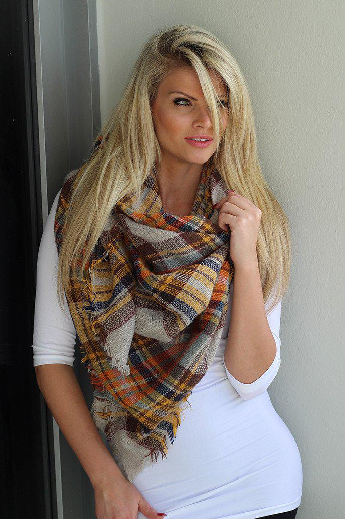 Mustard Plaid Frayed Blanket Scarf