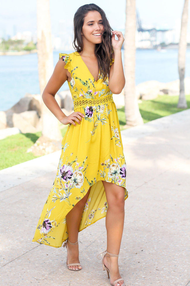 Mustard Floral High Low Dress