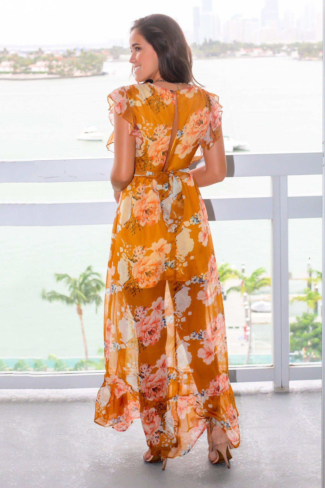 Mustard Floral Maxi Dress with Ruffled Sleeves