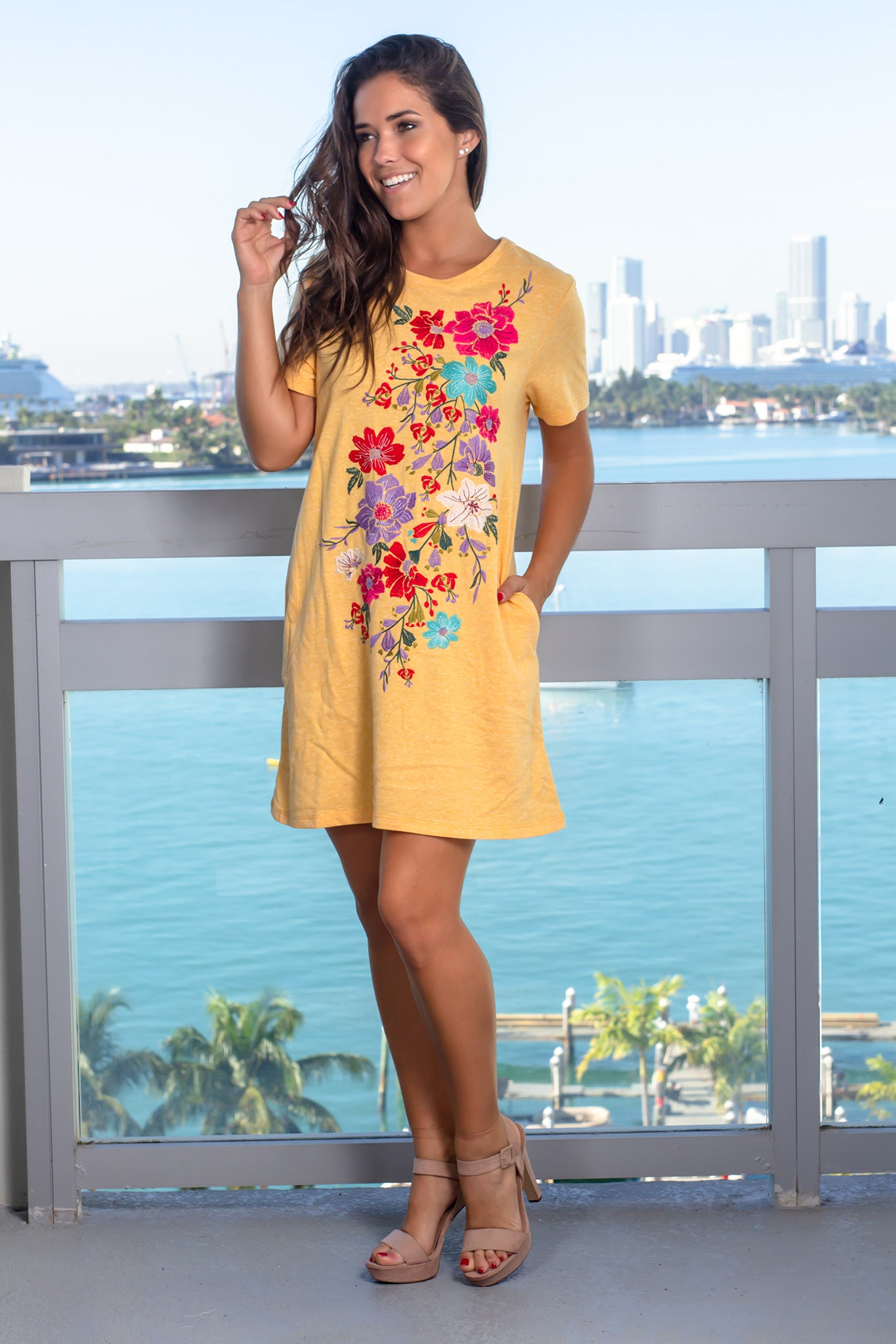 Mustard Floral Short Dress with Pockets