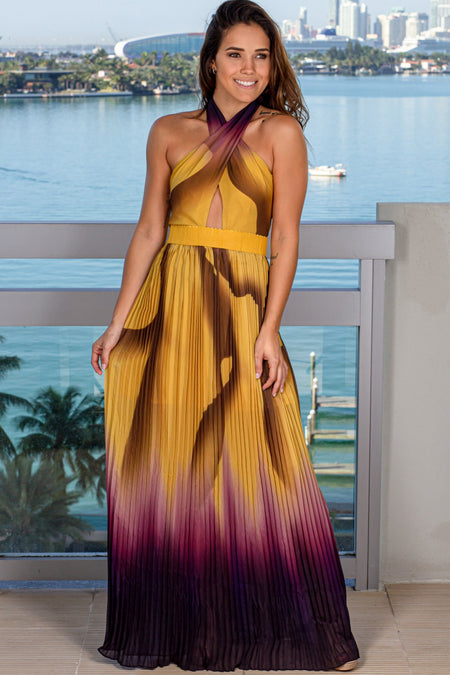 Mustard Ombre Pleated Maxi Dress
