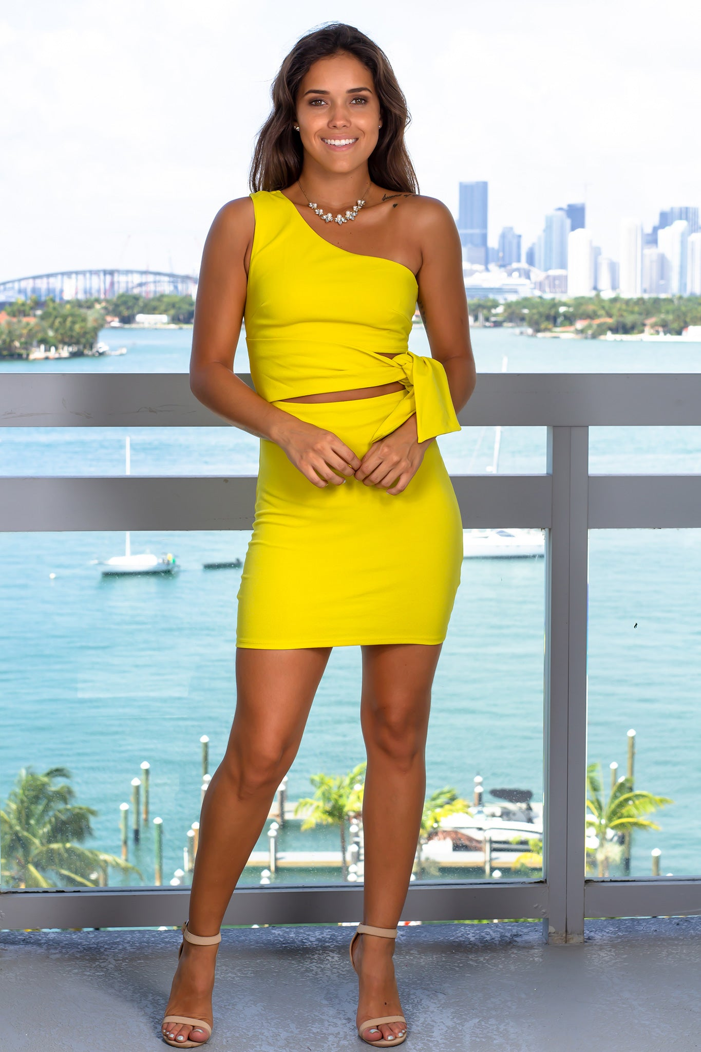 Mustard One Shoulder Short Dress with Tie Waist