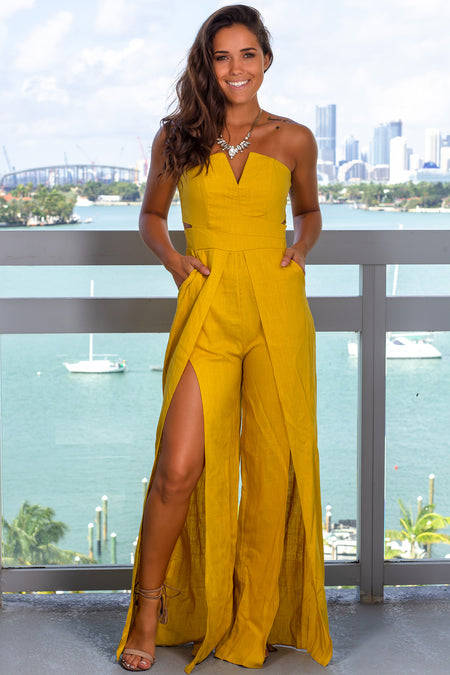 Mustard Strapless Jumpsuit with Pockets