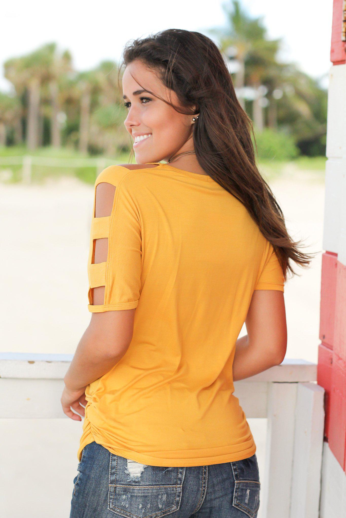 Mustard Top with Strap Detail Sleeves