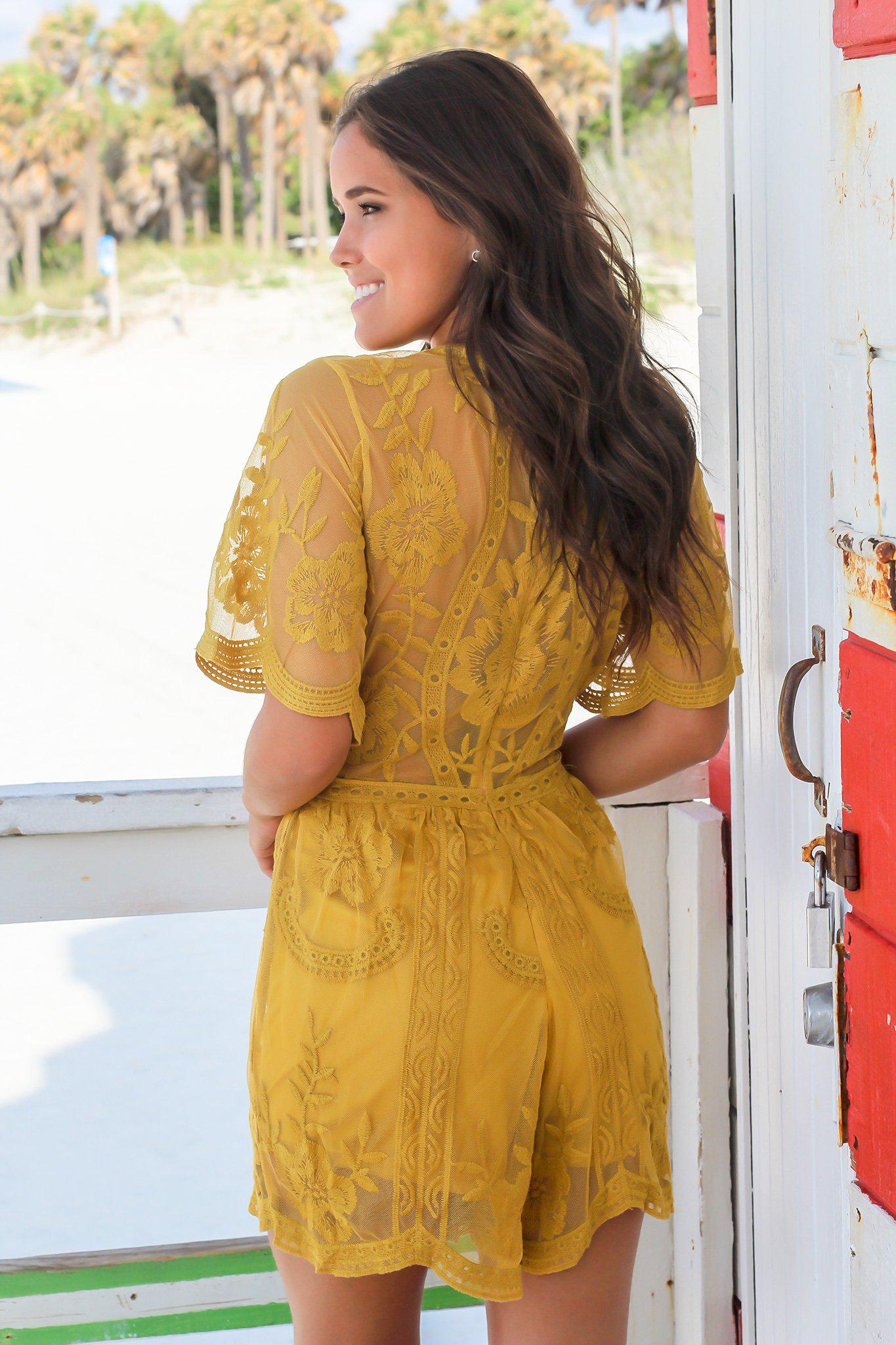 Mustard V-Neck Short Lace Romper