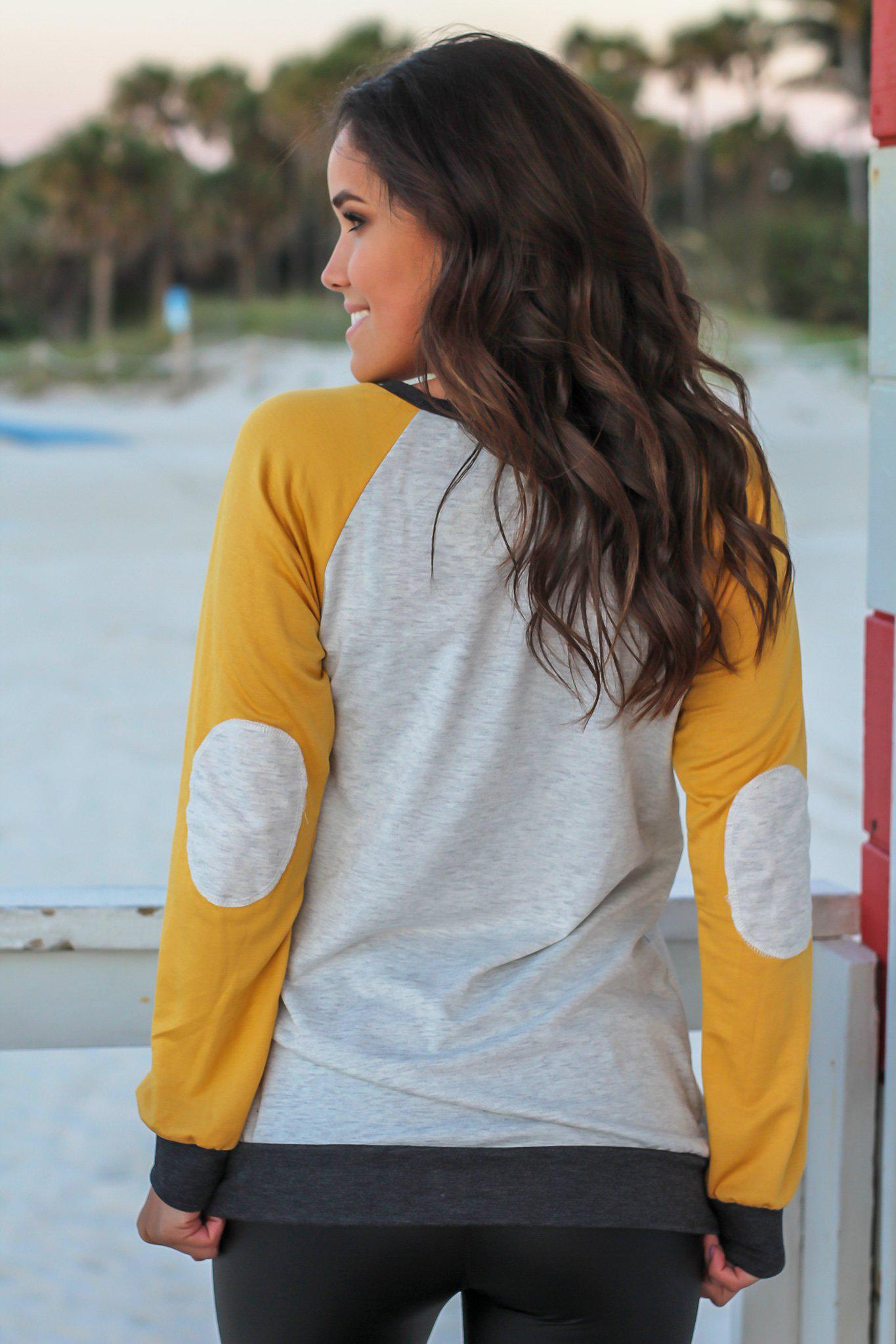 Mustard and Gray Color Block Pullover Top