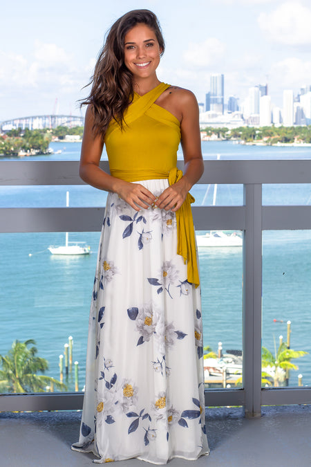 Mustard and Ivory Floral Printed Maxi Dress
