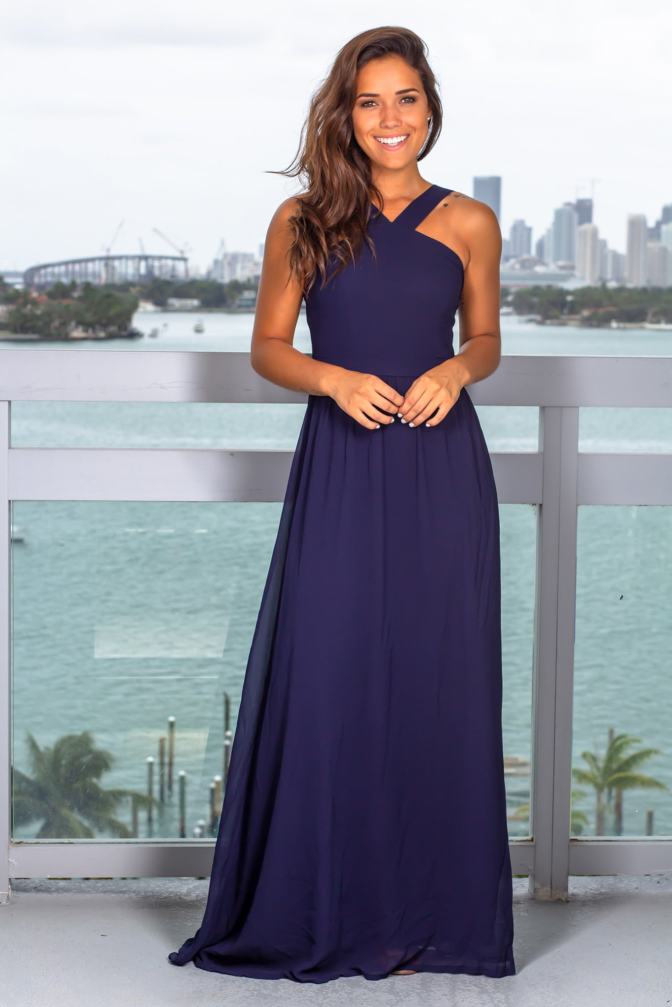 Navy Halter Neck Maxi Dress with Open Back
