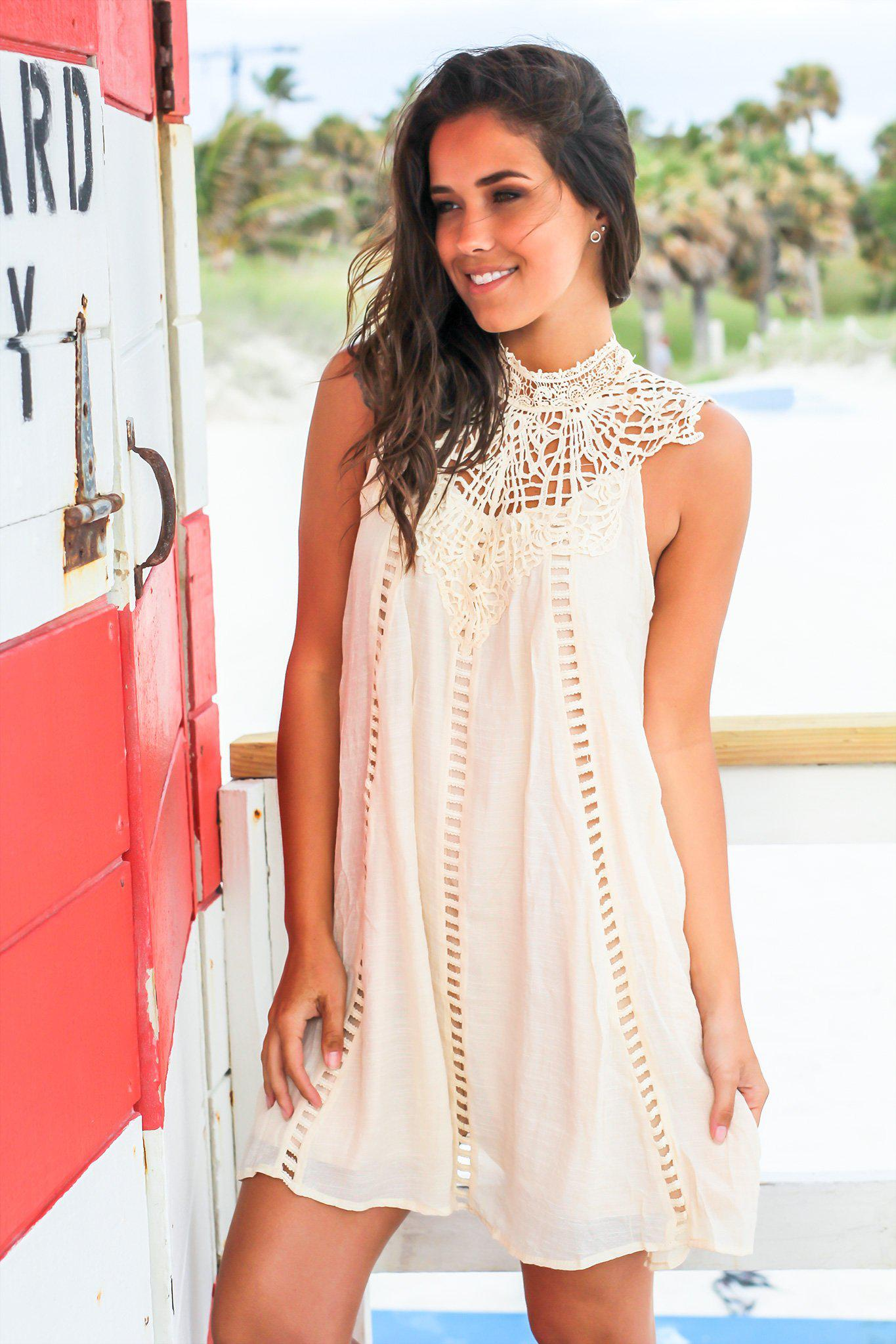Natural Crochet Short Dress with Cut Out Detail