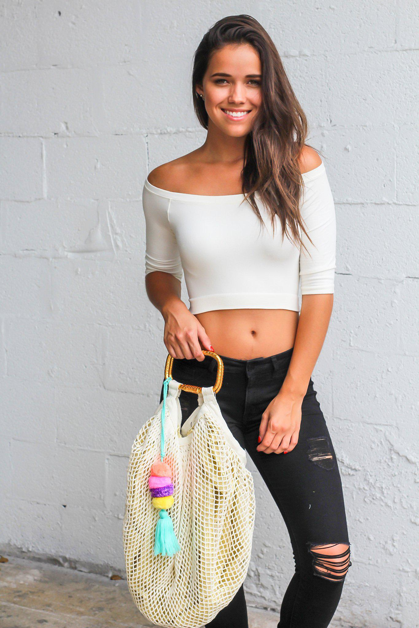 Natural Fishnet Bag with Pom Pom Tassel