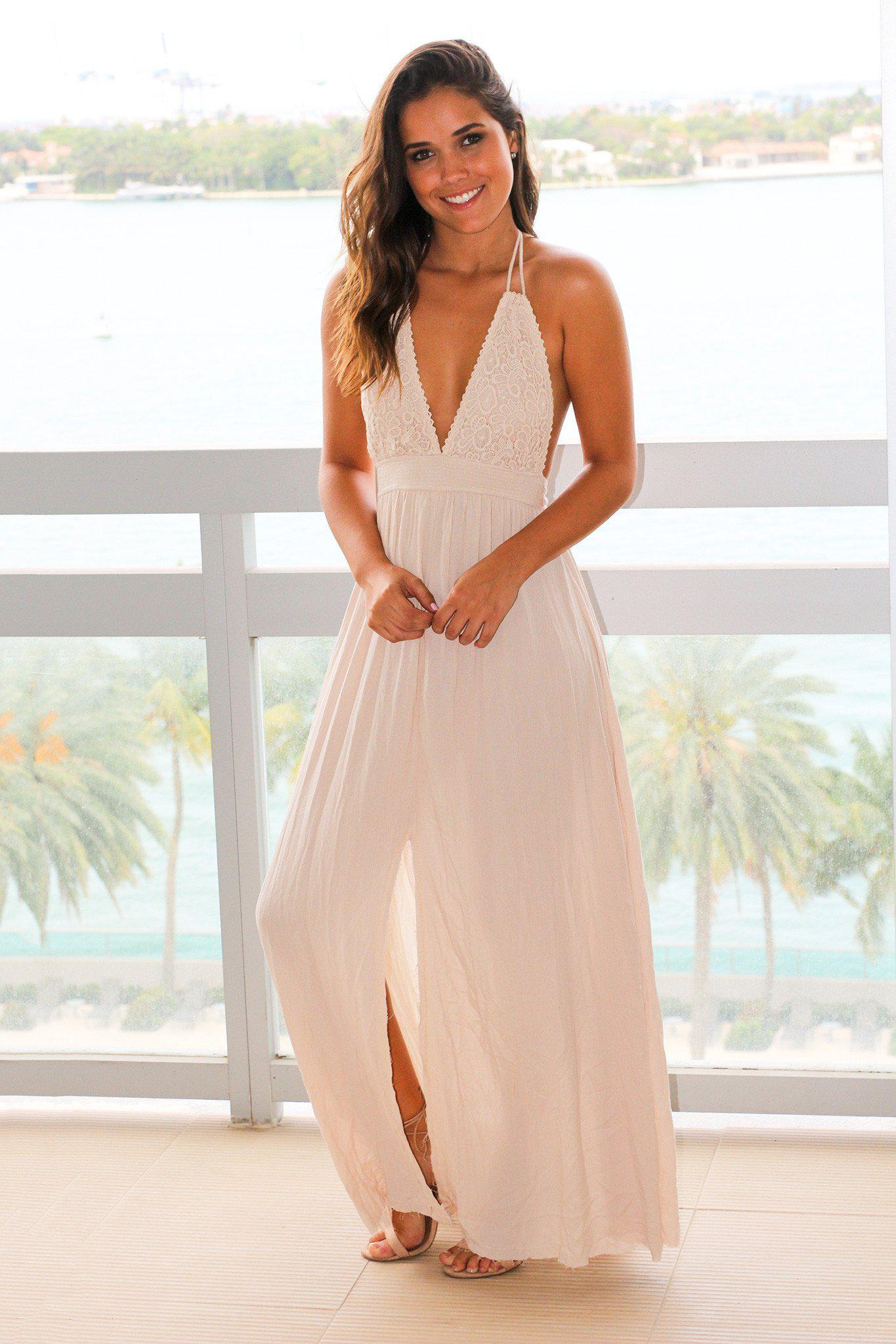 Natural Halter Neck Maxi Dress