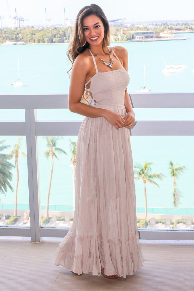 Natural Halter Neck Maxi Dress with Strappy Back