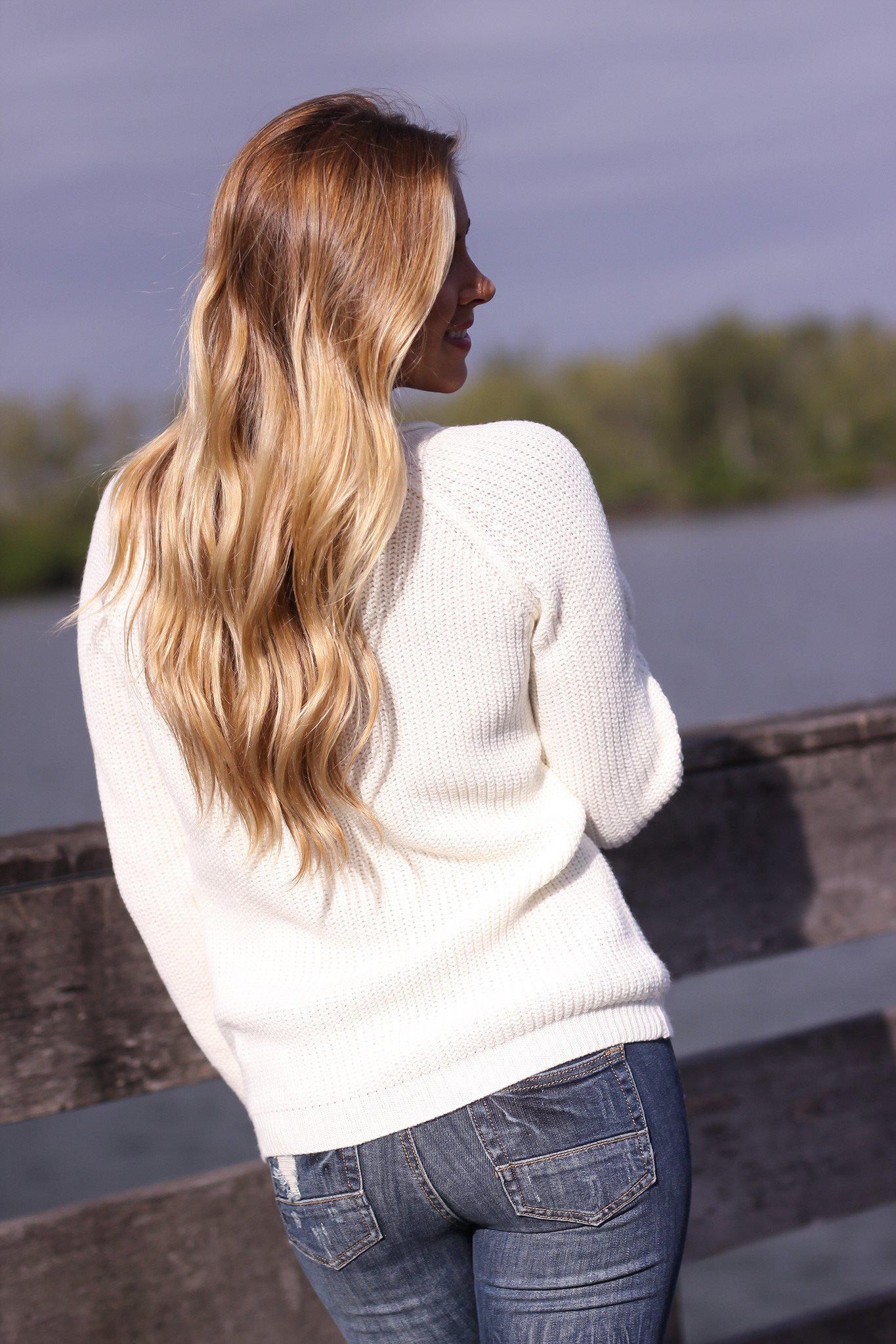Natural Knit Lace Up Sweater