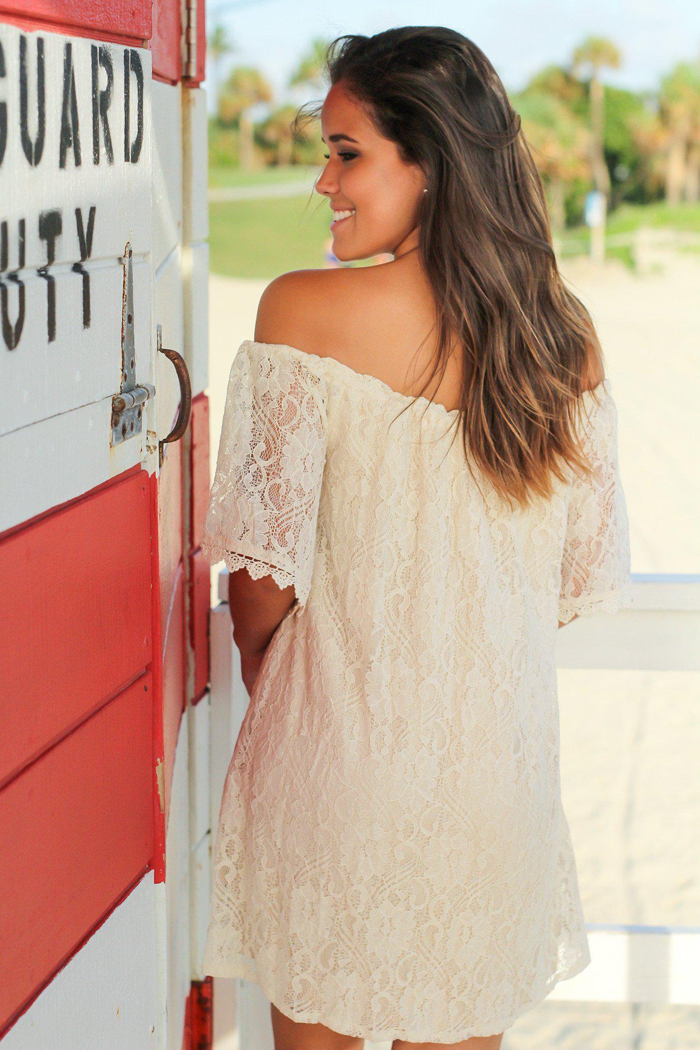 Natural Lace Off Shoulder Short Dress
