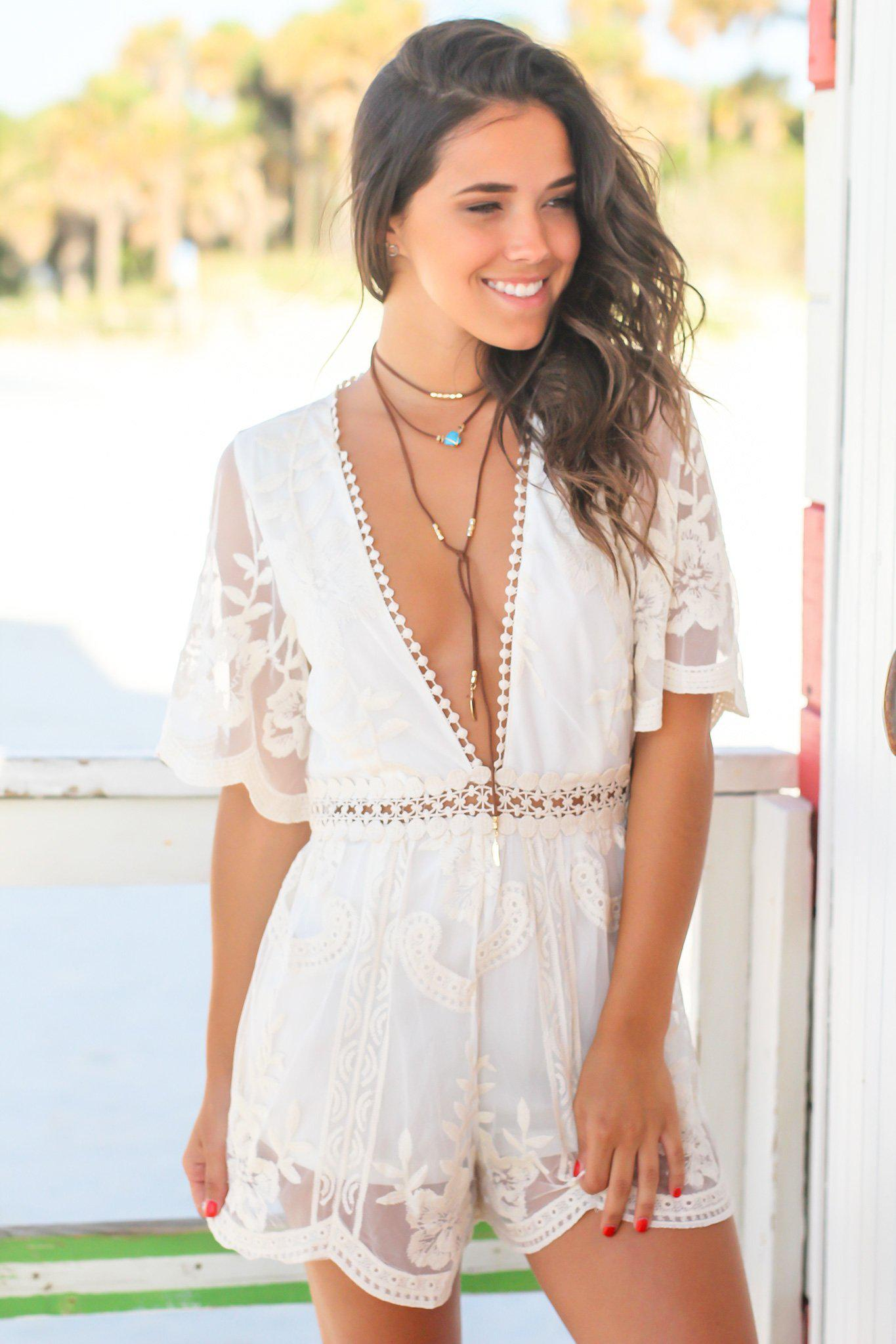 Natural Lace Romper with Open Back