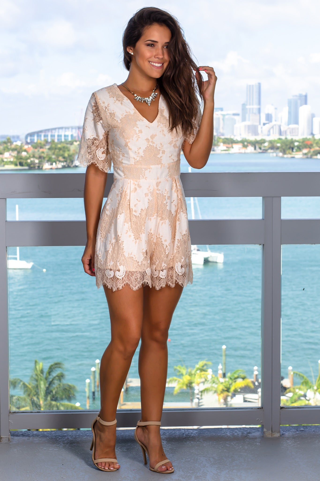 Natural Lace Romper with Sleeves