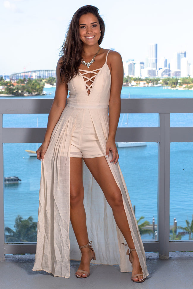 Natural Maxi Romper with Strappy Detail