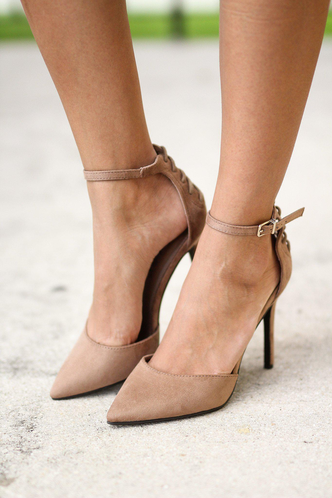 Natural Pointed Toe Pump with Ankle Strap