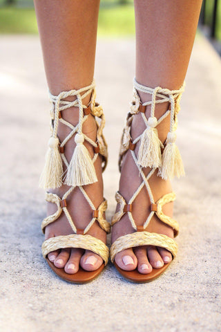 Natural Rafia Lace Up Sandals