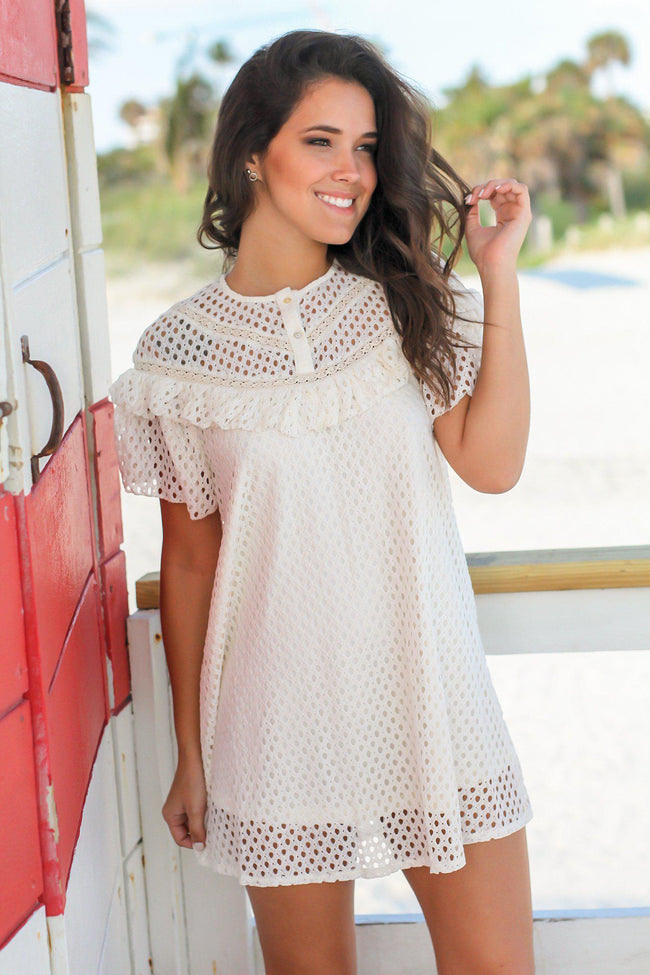 Natural Short Dress with Ruffles